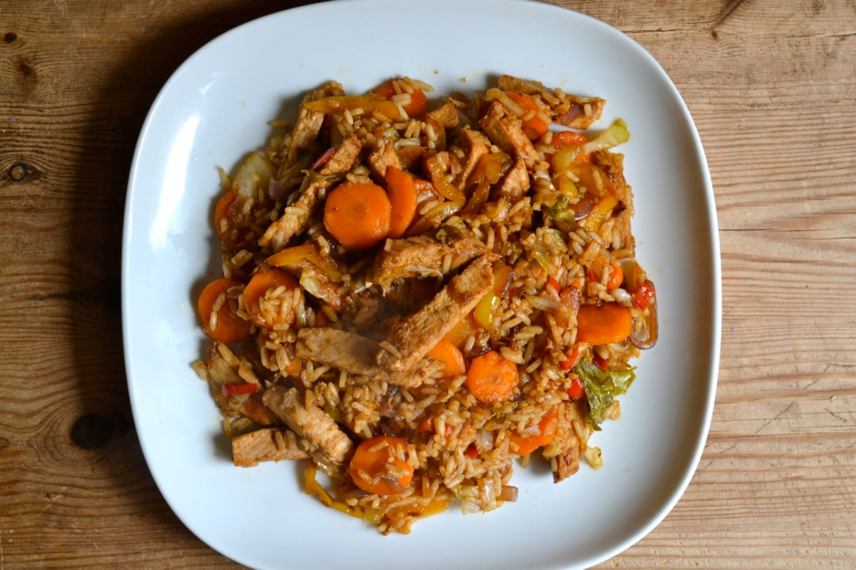 Leftover Roast Pork Stir Fry with Rice and Vegetables
